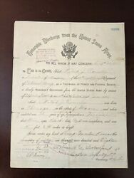 1918 Antique Wwi Us Army Honorable Discharge Paper Camp Funston Kansas