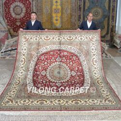Yilong 8'x8' Handknotted Silk Carpet Square Red Oriental Indoor Area Rug Mc679c