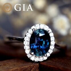 Gia Certified Natural Blue Sapphire Diamond 18k White Gold Ring Oval 1.95 Tcw