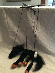 Horse Marionette. 2005 Sunny And Co Toys. Black Horse 9 X 8 In. Brown Hooves.