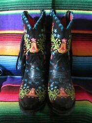 Rodeo Quincy Ladies Genuine Leather Booties Isabella Worn One Time Inside Gorg
