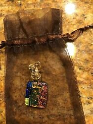 Handmade Dichroic Glass Wire Wrapped Beaded Bale Slider Pendant