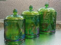 Vintage Indiana Glass Iridescent Lime Green Carnival Glass Canister Set Of 3