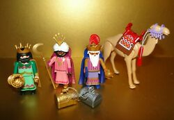 Large Lot Playmobil Nativity Wisemen 3 Kings And Camel And Accessories 5719 -2002
