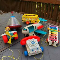 Vintage Fisher Price Big Lot Pull Toys And Others Usa Made 1960's To 1980's Great