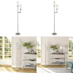 Basso 69.5 In. Polished Nickel Finish Floor Lamp With Clear Glass Shades
