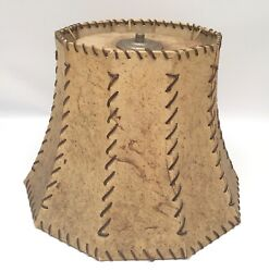 """Vintage Cow Hide Rawhide Lamp Shade Whipstitch Leather Western 10"""""""