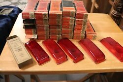 30 Vintage Nos 1941 Ford Stop Tail Light Lenses Ruby Red Lynx Eye T-311