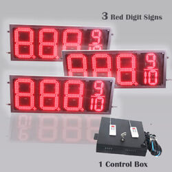 12 Inch Digits Led Gas Sign Package 3 Red 88889 Digital Price Gasoline Led Sign