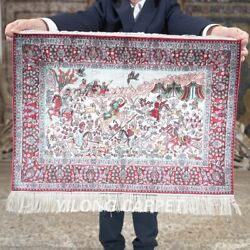 Yilong 1.5and039x2and039 500line Handknotted Silk Tapestry Hunting Animal Rug Mc621h