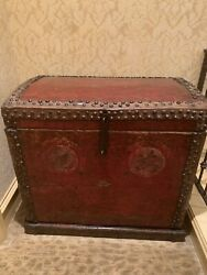 Large Antique Asian Red Trunk Chest 34 Inches Wide