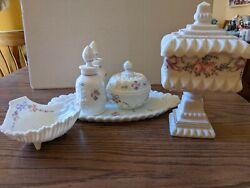 Westmoreland Roses And Bows Dresser Set Wedding Bowl Shell Nappy In Milk Glass