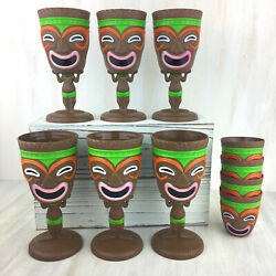Hawaiian Tiki Party Goblet Luau Plastic Party Cups Colorful Tribal Mask