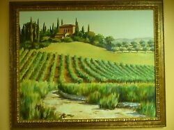 Liz Cummings Original Oil On Canvas, Tuscan Hills In Italy, Listed Artist.