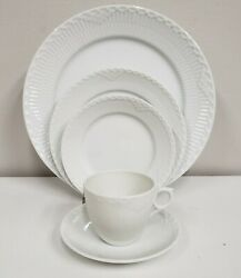 Royal Copenhagen White Half Lace 5 Pc Place Setting Brand New Never Used