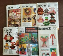 Vintage Lot Of Six Craft Decorating Patterns Wreaths Baskets Costumes