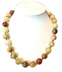 """18"""" 14mm Multi-color Serpentine Jade Beaded Necklace W/ Sterling Silver 925"""