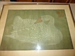 Antique Silk Painting China Chinese Goose 23x16 Swan Signed Qing Seal Mark Bird