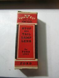 Vintage Lynx Eye New Old Stock Ford 1941 T-311 Ruby Glass Stop Tail Lamp Lens