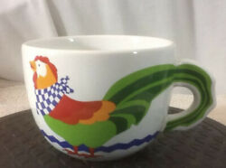 4 Vtg Collectible Ftd Chicken Rooster Soup Bouquet Coffee Mug Cup Red Green Blue