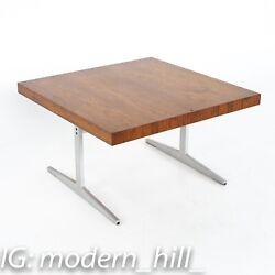 Mid Century Rosewood And Aluminum Sleigh Base Side Table - Vintage Mcm