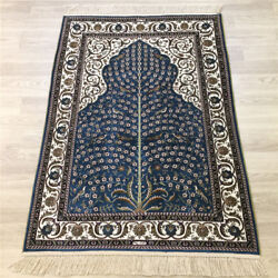 Yilong 3and039x4and039 Handwoven Silk Carpet Blue Tree Of Life Kid Friendly Rug 169a
