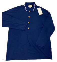 1000 Big And Tall Blue Long Sleeve Polo Shirt Size 4xl Made In Italy