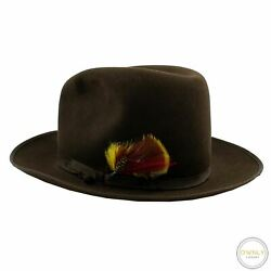 Borsalino Alessandria Brown Felted Flannel Leather Trim Feather Fedora Hat 7 1/4