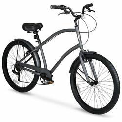 Mens Cruiser Bike Hyper 26 Inch Commute Comfort Bicycle Lightweight 7 Speed Gray
