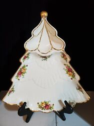 Scarce Royal Albert Old Country Roses Holiday Christmas Tree Serving Platter Tr