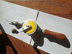 Vintage Egg Beater Iron Hand Drill Wooden Handles Yellow Enamel Marked India 12