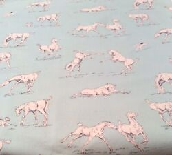 """PUREBRED BY ERIN MICHAEL FOR MODA 100% COTTON HORSES PLAYING IN A PASTURE 44""""x42 $14.00"""