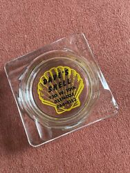 Shell Gas Oil Ashtray Sign Can Dave's Chicago Mobil Tiger Stripe Vintage Glass