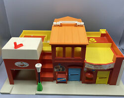 1973 Fisher Price Vintage Little People Village Main Street Toy Play Two Piece