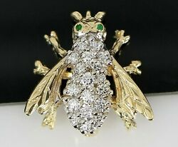 Vintage Estate 14k Yellow Gold Round Green Emerald Pave Diamond Bee Pin Brooch
