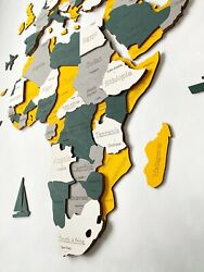 Multilayered Wooden World Wall Map In Yellow And Green Xl Size 78 X 39andrdquo