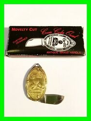 Vintage Brass Handle Coca-cola Coke Advertising Folding Knife Watch Fob With Box