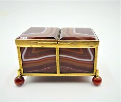 Antique Germany Fortified Agate Double Cover Box