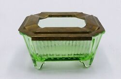 Vintage Marked Slide Top Patent Brass Top And Depression Green Glass Ashtray
