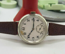 Rare W.w.i Solid Silver Sandco Military Trench White Dial Man's Watch