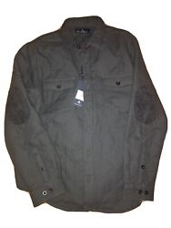 New Rainforest Mens Xl Shirt Jacket Button Charcoal Cotton Long Sleeve Quilted
