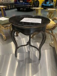 Les Marche Chairside Black Round Table Marge Carson