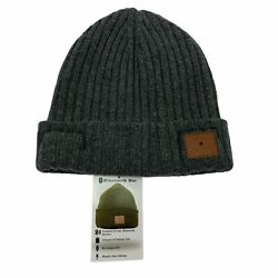 Bloomingdales Mens Wool Cashmere Bluetooth Headphone Ribbed Cuffed Beanie Hat