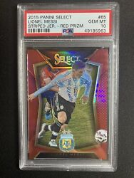 Lionel Messi 2015 Panini Select Red Prizm Refractor Striped Jersey Psa 10 /199