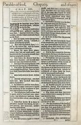 1611 King James Bible Leaf Mt 13 The Field Is The World - First Issue And039heand039 Bible