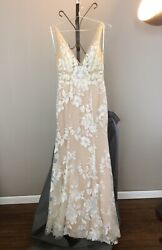Made With Love Stevie Wedding Dress Color Nude Size Medium 10