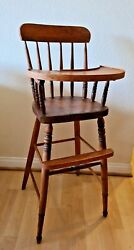 Antique 1800's Wooden Baby High Chair W/ Spindles Seat Swing Tray 36.5hx15.5w