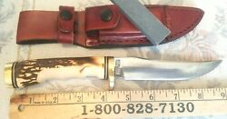 Vintage Schrade Usa Uncle Henry Golden Spike Knife 153uh With Sheath And Stone