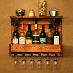 Wine Whiskey Bourbon 6 Bottles Glasses Stand Wall Mounted Vintage Drinks Cabinet