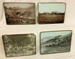 Four Antique Photographs Of Old West Us Glass-mounted Crazy Mtns Montana And More